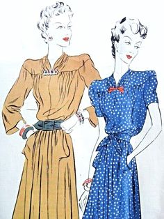 1940s Lovely Frock Dress Pattern Vogue Couturier Model 261 Draped Neckline, Softly Draped Bodice and Dirndl Skirted Dress Day or Evening Bust 32 Vintage Sewing Pattern