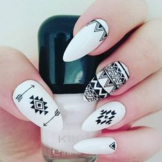 Fabulous nails featuring aztec nail stickers only £1 from https://www.charliesnailart.co.uk/aztec-nail-stickers/