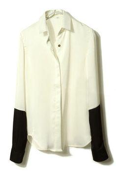Sewing Idea - Lengthen Sleeves - www.SheInside.com - Shown: White Black Lapel Long Sleeve Buttons Blouse 46.45