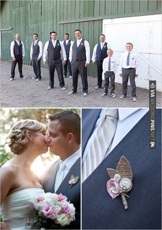 DIY button and burlap boutonniere for your groomsmen | CHECK OUT MORE IDEAS AT WEDDINGPINS.NET | #bridesmaids