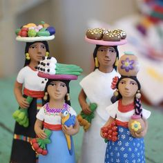 """""""The Mexican toy world is full of delightfully fantastic objects…The make believe world of children is generally like the adult world, filled with beliefs in magic and miracles…"""" Frances Toor Ceramic Figures, Clay Figures, Flower Hair Pieces, Flowers In Hair, Mexico Style, Mexican Designs, Art Friend, Women Figure, Mexican Folk Art"""