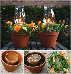 Clay pots turned into lanterns with candles and flowers for patio or outdoor areas. Outdoor Projects, Garden Projects, Garden Crafts, Diy Projects, Pot Jardin, Clay Pots, Outdoor Lighting, Outdoor Candles, Lighting Ideas