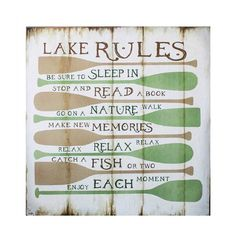 Here's what's on your summertime lake retreat agenda: sleep in, read a book, and follow the instructions on this rustic plaque.  Find the Lake Rules Plaque, as seen in the Rustic Outdoor Living at the Lake  Collection at http://dotandbo.com/collections/rustic-outdoor-living-at-the-lake?utm_source=pinterest&utm_medium=organic&db_sku=90202