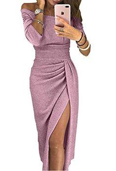 Jevvia Damen Schulterfrei Kleider Elegant Hochzeit Maxikleider für  Brautjungfer Glänzend Hoch Geschnitten Abendkleider Partykleid Cocktailkleid b6eb8dc59f