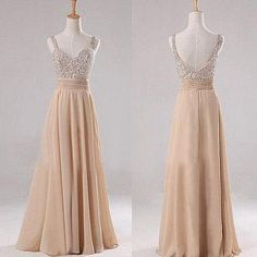 Champagne Long Chiffon Bridesmaid Dress Sleeveless Backlace Floor Length Handmade Prom Evening Formal Wedding Party Dress Custom Made