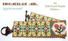 You are purchasing an ODD count peyote digital pattern....NOT THE ITEM IN THE PHOTO!! I wanted to create something light and AIRY...something FRESH. PICCADILLY AIR was lovingly inspired. Delicate flowers dance among a lemon grassy field. Soft peachy flowers abound with hints of