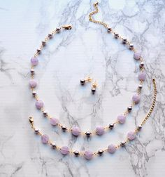 Lavender amethyst jewelry set necklace bracelet studs Amethyst Jewelry, Crystal Jewelry, Gemstone Jewelry, Necklace For Neckline, Cardboard Jewelry Boxes, Beaded Necklace, Pearl Earrings, Pearl Studs, Swarovski Pearls
