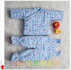 100% pure cotton newborn baby Siamese handmade cotton jacket Hand Foot trousers can be customized