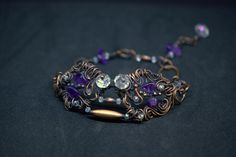 Copper wire wrapped Amethyst and crystals fairy bracelet by Yulahu on Etsy
