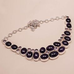 925 Silver Necklace With Amethyst Gemstone Handmade Vintage Jewelry 18 Inches