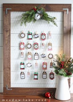 Simple advent countdown calendar - with free printable tags | www.meadowlakeroad.com