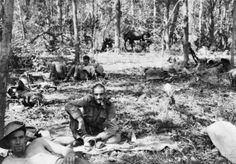 4 March 1944:  Preparing for the second Chindit raid deep into Burma Chindits at rest in their jungle bivouac.