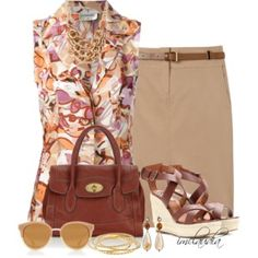 Print Blouse, Pencil Skirt and Wedge Sandals