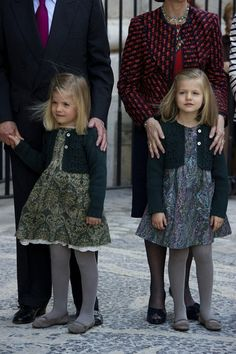 Princess Leonor and Princess Sofia of Spain attending Easter Mass in Palma de Mallorca 2012