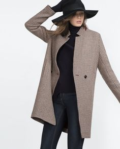 6b13112e21d An elegant check wool coat from Zara. Loving chic length