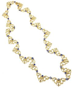 """Buccellati Sapphire Yellow Gold 24 Inch Long Necklace. 18k Yellow Gold Sapphire 24"""" Necklace by Buccellati. With 38 Round Sapphires total weight approx. act c 1989"""