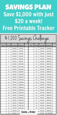 1000 Savings Plan Build your emergency fund with this easy challenge of just 20 a week Free Printable Tracker for your savings challenge Savings Challenge, Money Saving Challenge, Money Saving Tips, Saving Ideas, Challenge Week, Money Tips, The Plan, How To Plan, Savings Chart