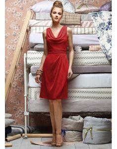Demoiselle d'honneur-nouveau col benitier drape de mousseline ruche genou longueur robe de demoiselle d'honneur colonne naturel