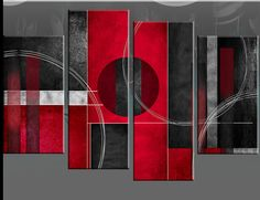 "Red black and white canvas art | 4FT WIDE+ LARGE RED BLACK ABSTRACT CANVAS PICTURES MULTI WALL ART 51""x ..."