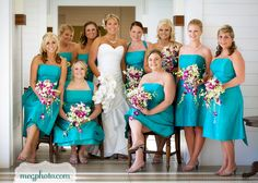 #Bridal Party #bridesmaid dress #turquoise #teal #orchid Bouquets