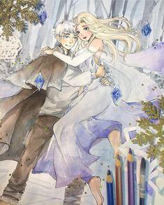 Queen Elsa — This is such beautiful art💙By guildmanga on. Frozen Art, Disney Frozen, Elsa Frozen, Jelsa, Elsa Anime, Jack Frost And Elsa, Nyan Cat, Princess Drawings, Princess Luna