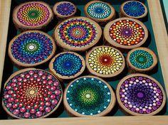 Mosaico de montaña Mandala pintura de Mandala única sobre