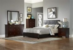 Avelar Cherry Wood Vinyl Glass Master Bedroom Set