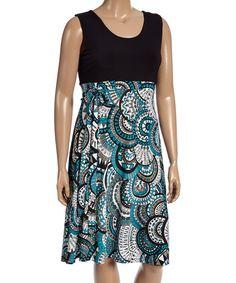 Look at this #zulilyfind! GLAM Black & Blue Medallion Sleeveless Dress - Plus by GLAM #zulilyfinds
