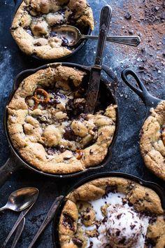 Secret Ingredient Peanut Butter Stuffed Chocolate Chip Skillet Cookie | halfbakedharvest.com @hbharvest