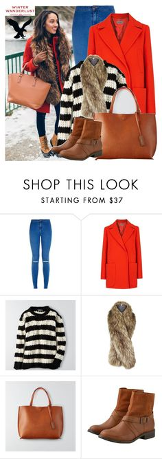 """""""Winter Wanderlust with American Eagle: Contest Entry"""" by enola123 ❤ liked on Polyvore featuring Sportmax, American Eagle Outfitters, Topshop and aeostyle"""