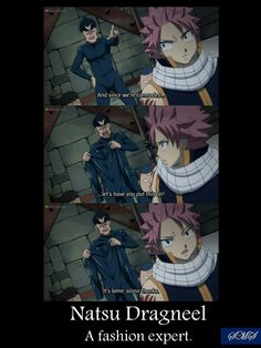 Natsu Dragneel: a fashion expert, funny, text, quote, comic, stretchy outfit, Natsu Dragneel; Fairy Tail