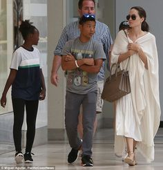 Me And My Babies: On Sunday, Angelina Jolie was spotted taking her children Pax and Zahara to the mall in Los Angeles