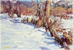 "Walter (Walt) Gonske (American, b. 1942), ""Up in El Santa Taos"", oil on canvas, signed"