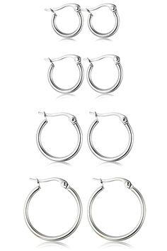 ORAZIO 4 Pairs Stainless Steel Hoop Earrings Set Cute Huggie Earrings for earrings of gold Cross Earrings, Cuff Earrings, Cartilage Earrings, Silver Hoop Earrings, Wedding Earrings, Piercings, White Gold Hoops, Cubic Zirconia Earrings, Stainless Steel Earrings