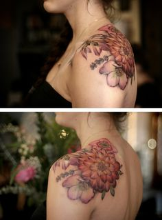 Dahlia, lavender, and hellebore, by Alice Kendall #tattoo #ink