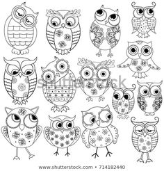 Set Fourteen Cartoon Ornate Amusing Owl Stock Illustration 714182440 Set of fourteen cartoon ornate amusing owl outlines with big eyes isolated on the white background Colouring Pages, Adult Coloring Pages, Coloring Books, Doodle Drawings, Doodle Art, Owl Doodle, Owl Patterns, Embroidery Patterns, Owl Outline
