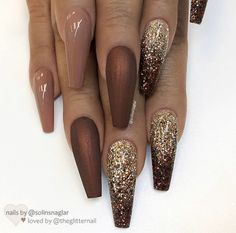 """If you're unfamiliar with nail trends and you hear the words """"coffin nails,"""" what comes to mind? It's not nails with coffins drawn on them. It's long nails with a square tip, and the look has. Fall Nail Designs, Acrylic Nail Designs, Coffin Nail Designs, Coffin Nails Long, Long Nails, Short Nails, Fall Acrylic Nails, Fall Nail Art, Super Nails"""