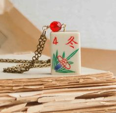 Vintage Mahjong NECKLACE Carved Bone & Bamboo