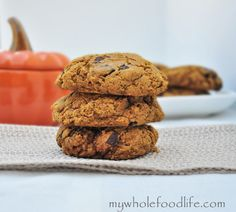 Pumpkin Chocolate Chunk Cookies.  Soft and chewy cookies with chunks of chocolate.  Prefect for fall.  Vegan and gluten free.
