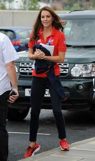 red Team GB polo shirt which she paired with a casual pair of navy Zara skinny jeans red Adidas Supernova Glide 4 Running Trainers and Kiki McDonough 'Grace' earrings