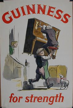 This vertical English beer poster features a man carrying a piano and its player as a women and dog watch. The beautiful Vintage Poster Reproduction is from our catalogue of 1400 classic posters. Guinness for strength beer poster. Beer Poster, Poster Ads, Sale Poster, Vintage Advertisements, Vintage Ads, Vintage Posters, Retro Posters, Vintage Logos, Retro Logos