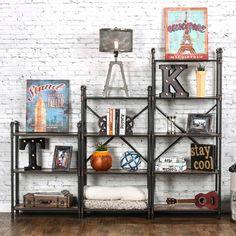 Furniture of America Herman Industrial Antique Black Display Shelf   Overstock.com Shopping - The Best Deals on Media/Bookshelves