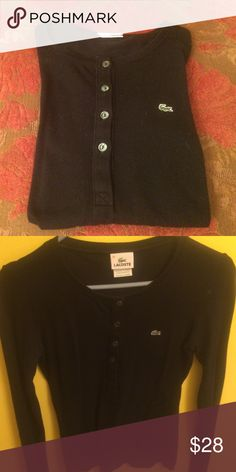 Lacoste Black Long Sleeve T-shirt Lacoste long sleeve tshirt half buttoned. Size 36, which is a small. Lacoste Tops Tees - Long Sleeve