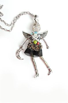 """- """"Hope Angel Pendant with chain necklace and extra clip to double as a charm or… Metal Jewelry, Beaded Jewelry, Handmade Jewelry, Steampunk Dolls, Beaded Angels, Angel Necklace, Angel Pendant, Diy Crystals, Bead Art"""