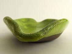 "Dish, ""Chocolate-lime"" series (brown clay, yellow green glaze). Ceramics by Studio Saskia Lauth / France - www.saskia-lauth.com"