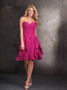 2015 A-line Sweetheart Ruffle Skirt Chiffon Short Cocktail Dress/ Bridesmaid Dress Allure 1418