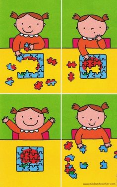 step-by-step plan for puzzling – Knippen Sequencing Pictures, Sequencing Cards, Story Sequencing, Sequencing Activities, Activities For Kids, Speech Language Therapy, Speech And Language, Preschool Kindergarten, Kindergarten Worksheets