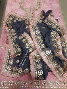 Pink and grey combination Patiala Suit Designs, Kurta Designs Women, Blouse Designs, Embroidery Suits Punjabi, Embroidery Suits Design, Indian Party Wear, Indian Wear, Dress Indian Style, Indian Outfits