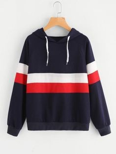 To find out about the Color Block Striped Hoodie at SHEIN, part of our latest Sweatshirts ready to shop online today! Hoodie Sweatshirts, Colorful Hoodies, Mein Style, Sports Hoodies, Cheap Hoodies, Long Sleeve Tops, Shorts, Girls, Clothes