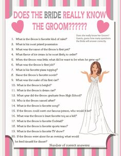 "Printable Wedding Shower Game ""Does the Bride Really Know the Groom?"" Couples…"